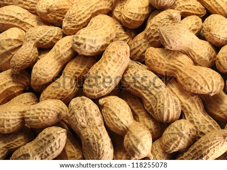 Close up of roasted peanuts in the shell on white background