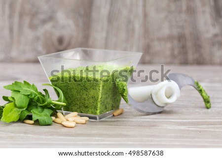 close up of rocket pesto