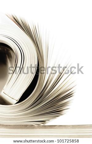 Close-up of rolled magazine on white background. Toned image. - stock photo