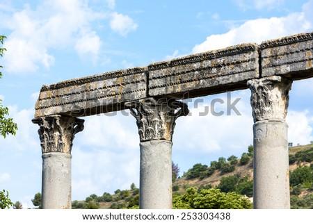 close up of Roman Temple, Riez, Provence-Alpes-Cote d'Azur, France - stock photo