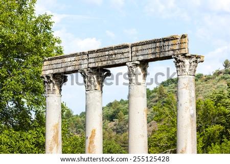 close up of Roman Temple, Riez, Provence-Alpes-Cote d''Azur, France - stock photo