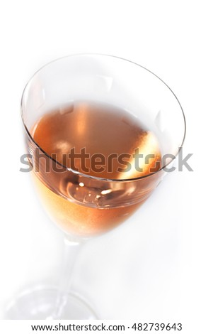 Close up of rose wine in a crystal glass
