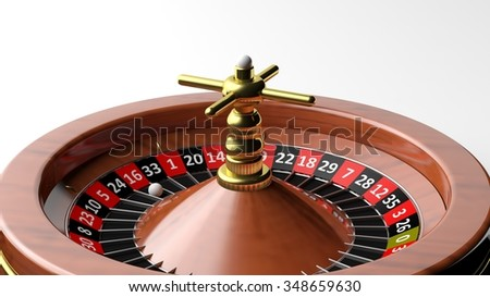 Close-up of roulette wheel on white background