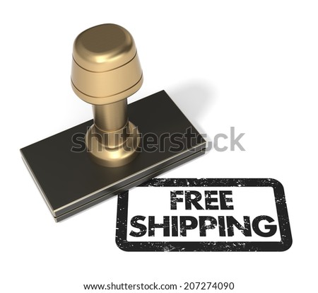 "Close up of rubber stamp ""Free Shipping"" on isolated white background. - stock photo"