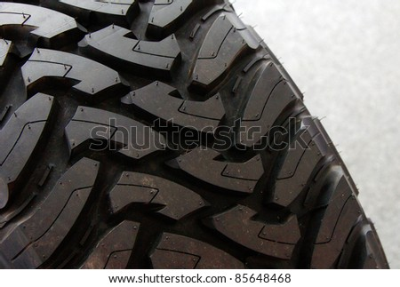 Close-up of rubber tyre tread - stock photo