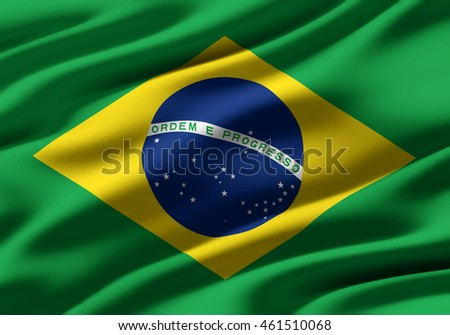 Close-up of ruffled flag of Brazil, background texture (High-resolution 3D CG rendering illustration)