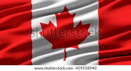 Close-up of ruffled flag of Canada, background texture (High-resolution 3D CG rendering illustration) - stock photo