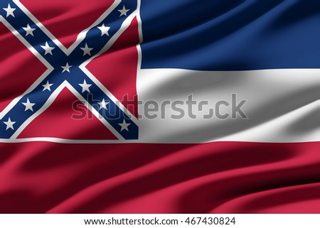 Close-up of ruffled flag of Mississippi, background texture (High-resolution 3D CG rendering illustration)