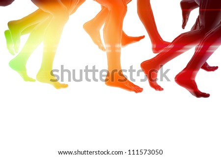 Close-up of running feet - stock photo