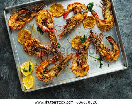 Close Up Of Rustic Piri Piri Grilled Prawn