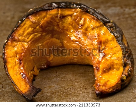 close up of rustic roasted pumpkin