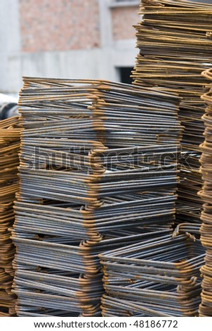 Close-up of Rusty High Tensile Steel Bar - stock photo