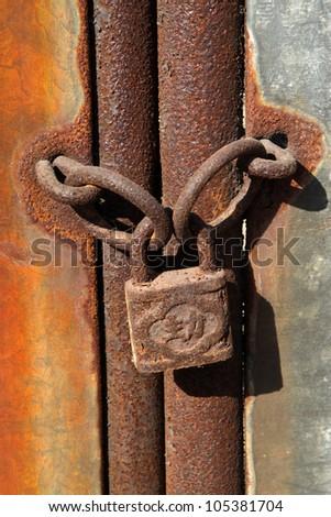 close up of rusty lock - stock photo