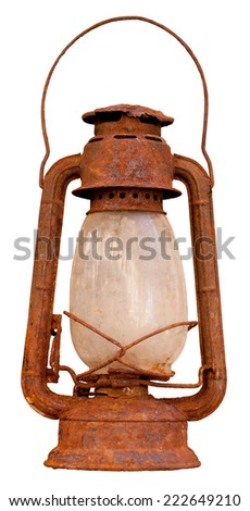 Close up of rusty oil lantern isolated on white background - stock photo
