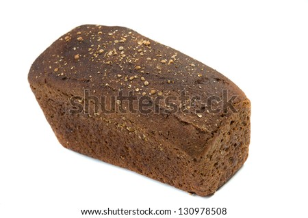 close up of rye bread over white