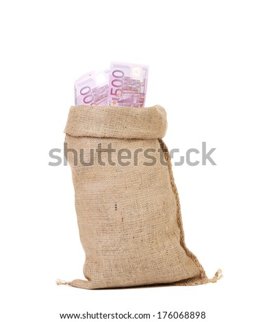 close up of  sack with euro bills - stock photo