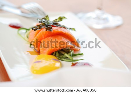 close up of salmon fillet decorated on a white plate