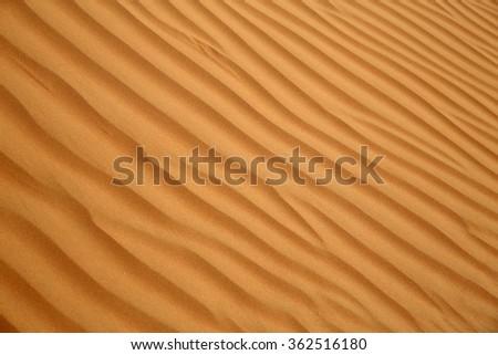 Close up of sand ripples on a dune, Rub al Khali or Empty Quarter, Oman - stock photo
