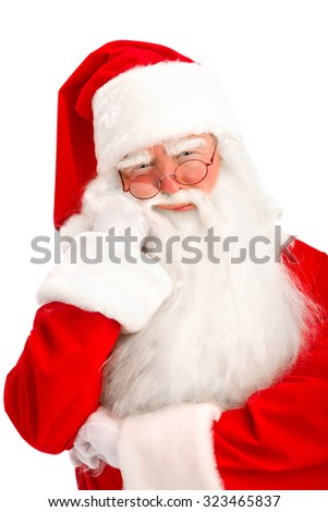 Close-up of Santa on the White Background.
