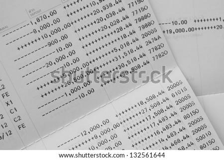 Close up of saving account Passbook - stock photo
