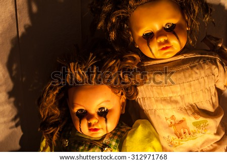 Close up of scary doll - stock photo