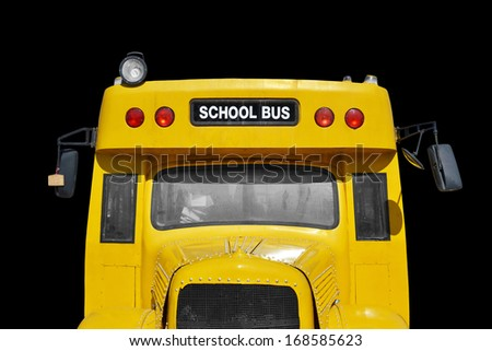 close up of school bus, isolated