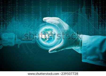 Close up of scientist hand holding glass dish. Elements of this image are furnished by NASA - stock photo