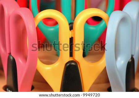 Close up of Scissors in Carrying Rack