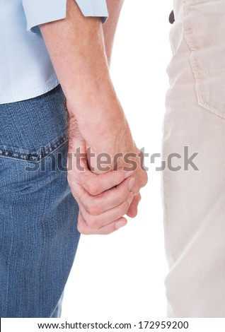 Close-up Of Senior Couple Hands Holding Each Other Over White Background - stock photo
