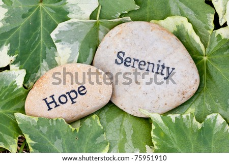close up of 'serenity' and 'hope' stones on ivy leaf background