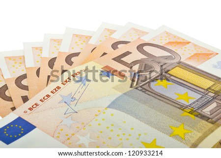 Close up of several fifty euro banknotes on a white background. - stock photo