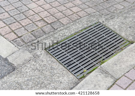 Close up of sewer manhole cover in a city street - stock photo