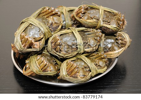 Close up of shanghai crabs (chinese mitten crabs)