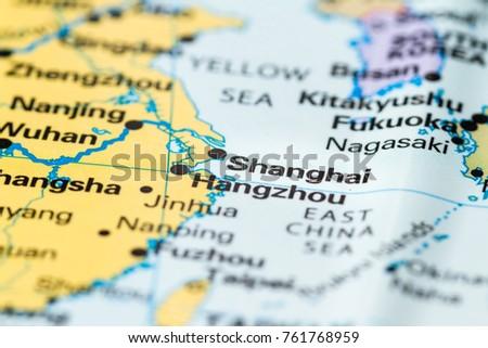 Close shanghai on world map stock photo download now 761768959 close up of shanghai on a world map gumiabroncs Images