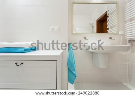 Close-up of shelf in luxury bathroom interior - stock photo