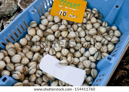 Close-up of shellfish in container at store - stock photo