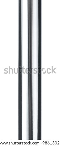 Close up of shiny metal pipe or prison bar isolated on white background - stock photo