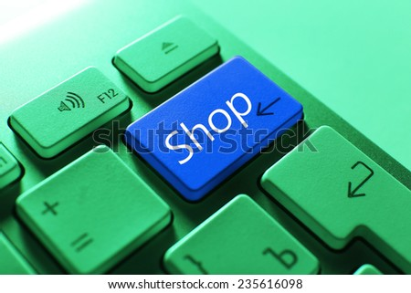 Close up of SHOP keyboard button