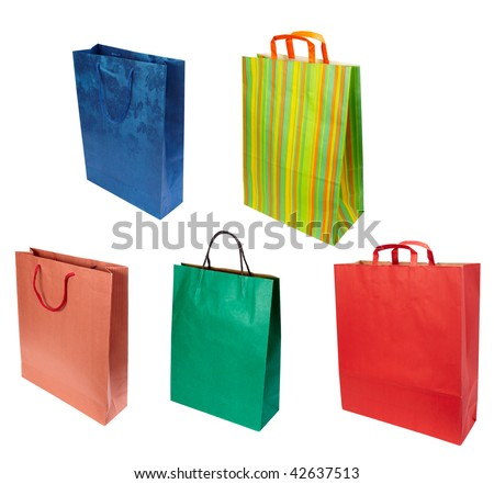 close up of shopping bag on white background. each one is in full cameras resolution - stock photo