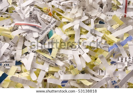 Close up of shredded paper for background. - stock photo