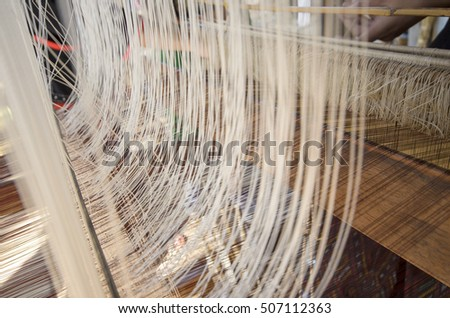 Close-up of Silk Weaving Machine, Asian Traditional Culture