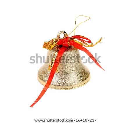 Close up of silver jingle bell. Isolated on a white background.