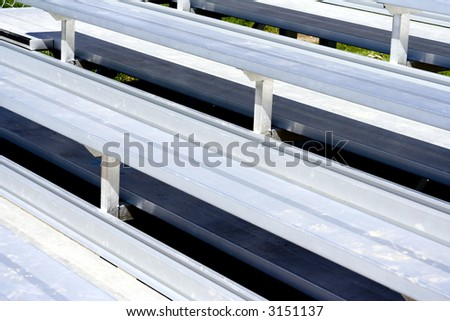Close up of silver metal sports bleachers