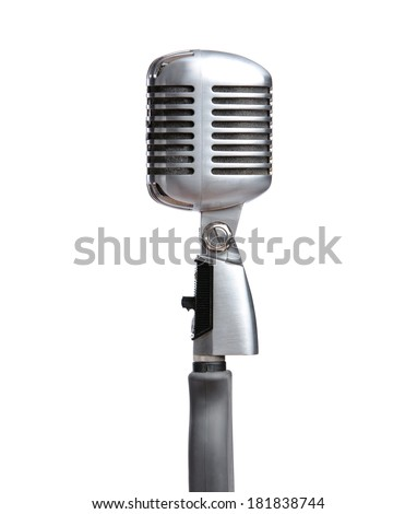 Close up of silver microphone, isolated on white. Concept of music and arts - stock photo