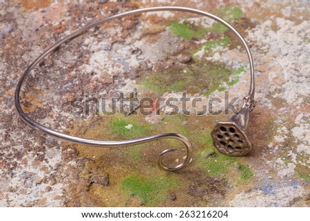 Close up of silver necklace, manufactured by Ornella Salamone - stock photo
