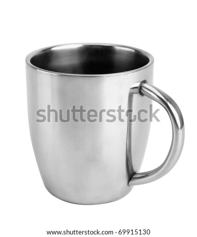 Close-up of silver thermos mug isolated on white - stock photo