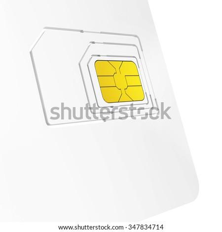 close-up of sim card starter kit on white background - stock photo