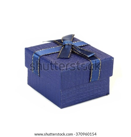 Close Up Of Single Blue Gift Box With  Pattern, Blue Gold Ribbon And Bow, Isolated On White Background,  Horizontal Image With Copy Space - stock photo