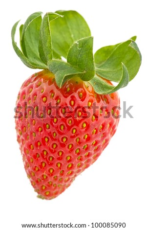 Close up of single fresh red strawberry with green leaf. White background - stock photo