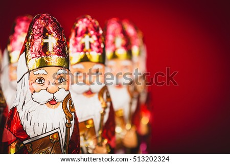 Close up of Sinterklaas. Saint  Nicholas chocolate figures of  Dutch character of Santa Claus.with copy-space